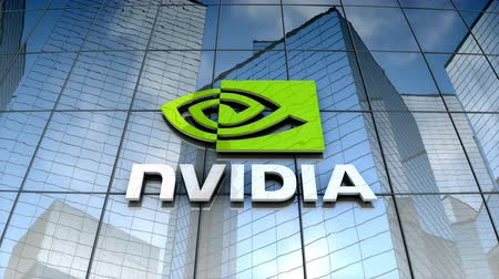 August 2017, Editorial use only, Nvidia logo on glass building.