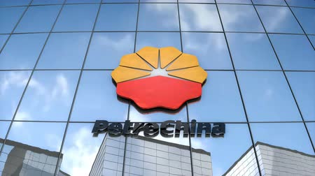 Editorial use only, 3D animation, PetroChina logo on glass building.
