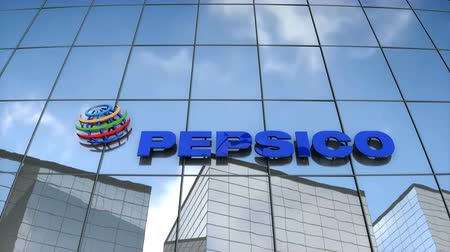 Editorial use only, 3D animation, Pepsico logo on glass building.