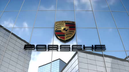July 2017, Editorial use only, 3D animation, Porsche AG logo on glass building. Стоковые видеозаписи