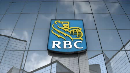 Editorial use only, 3D animation, Royal Bank Canada logo on glass building.