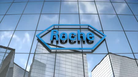 Editorial use only, 3D animation, Hoffmann-La Roche logo on glass building.