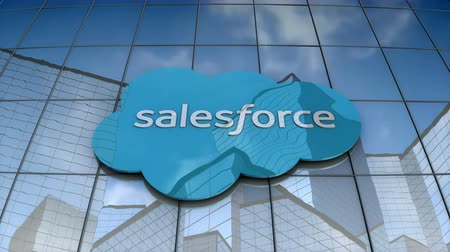 платформа : September 2017, Editorial use only, 3D animation, Salesforce logo on glass building.