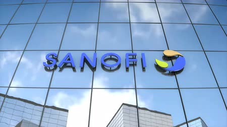 Editorial use only, 3D animation, Sanofi logo on glass building. Stok Video