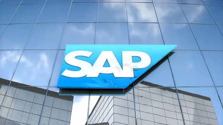 Editorial use only, 3D animation, SAP logo on glass building.