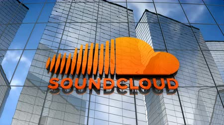 July 2017, Editorial use only, Soundcloud logo on glass building. Stock Footage