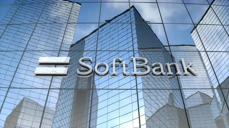 componentes : July 2017, Editorial use only, Softbank logo on glass building.