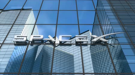 Editorial use only, 3D animation, SpaceX logo on glass building.
