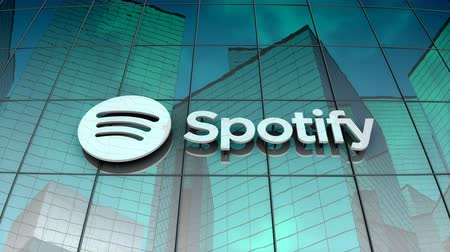 August 2017, Editorial use only, Spotify logo on glass building.