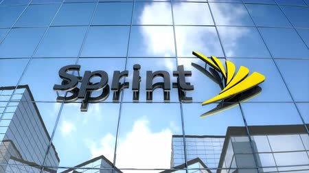 Editorial use only, 3D animation, Sprint logo on glass building. Stok Video