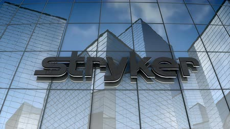 September 2017, Editorial use only, 3D animation, Stryker corporation logo on glass building. Стоковые видеозаписи