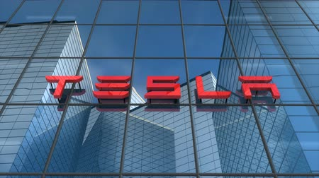 Editorial use only, 3D animation, Tesla logo on glass building.