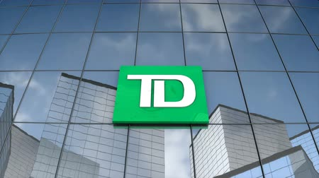 Editorial use only, 3D animation, Toronto Dominion Bank logo on glass building.