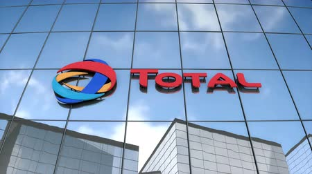 Editorial use only, 3D animation, Total S.A. logo on glass building.