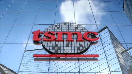 componentes : Editorial use only, 3D animation, TSMC logo on glass building.