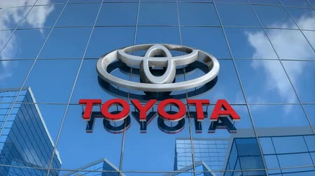 Editorial use only, 3D animation, Toyota logo on glass building.