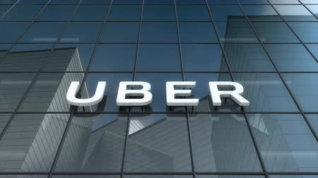 Editorial use only, 3D animation, Uber logo on glass building.