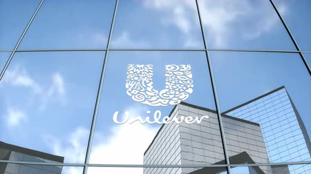 Editorial use only, 3D animation, Unilever logo on glass building.