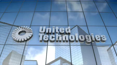 September 2017, Editorial use only, 3D animation, United Technologies Corporation logo on glass building.