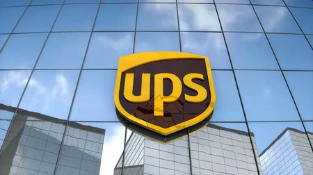 Editorial use only, 3D animation, United Parcel Service logo on glass building.