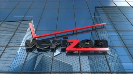 Editorial use only, 3D animation, Verizon logo on glass building.