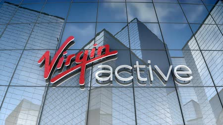 August 2017, Editorial use only, 3D animation, Virgin Active logo on glass building. Stok Video