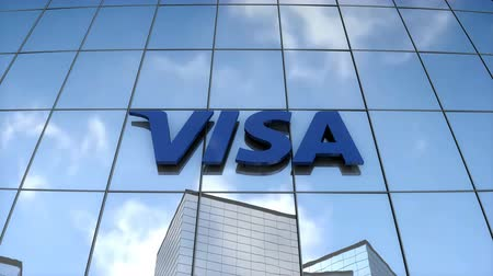 Editorial use only, 3D animation, VISA logo on glass building.