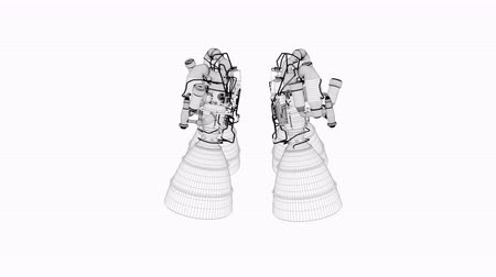 リファレンス : Computer generated, 3d wireframe Artist concept rendering rocket engine model.