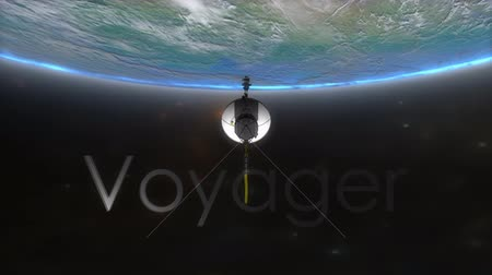 voyager : Computer generated, Voyager spacecraft with text overlay. Stock Footage