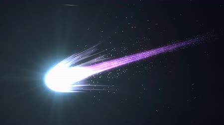 meteorite : Artist rendering, beautiful close up view blue comet.