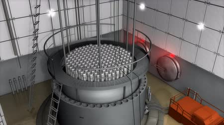 опасность : Nuclear reactor interior view, modern high end safety measures.