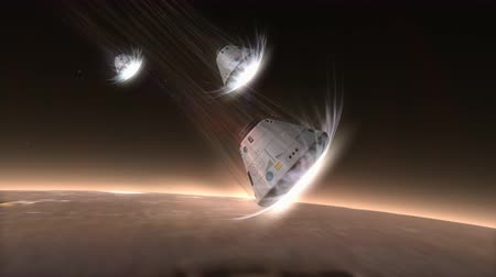 conquest : Artist rendering, Space capsule descending to Mars.