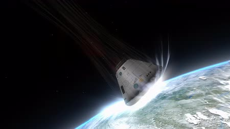 conquest : Artist rendering, Space capsule descending to Earth. Stock Footage