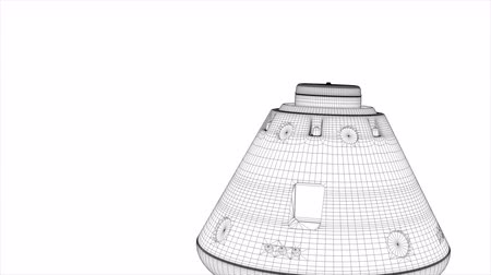 conquest : Computer generated, Wireframe rendering, manned space capsule module. Stock Footage