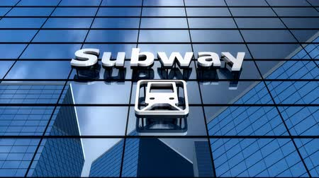 conveniente : Subway building blue sky time-lapse. Stock Footage