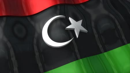 comunismo : 3D flag, Libya, waving, ripple, Africa, Middle East.