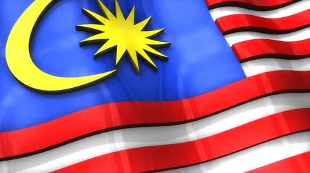 monarchy : 3D flag, Malaysia, waving, ripple, Asia. Stock Footage