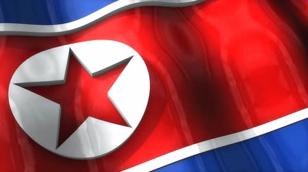 corée du nord : 3D flag, North Korea, waving, ripple, Asia.