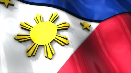 demokratický : 3D flag, Philippines, waving, ripple, Asia.