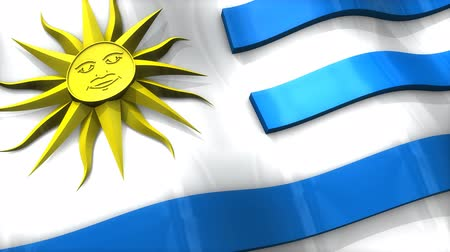 monarchy : 3D flag, Uruguay, waving, ripple, South America. Stock Footage