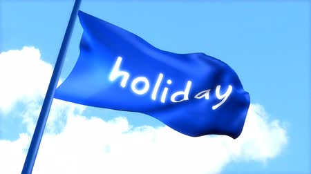 rüzgârla oluşan kar yığını : flag Holiday waving blue sky. Stok Video