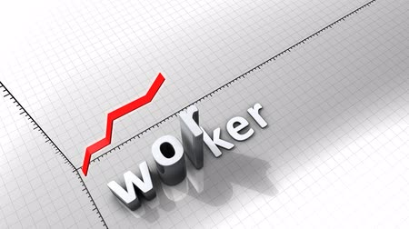 napirend : Growing chart graphic animation, Worker. Stock mozgókép