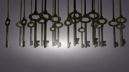 slavery : Hanging keys animation, solution, choice, pick. Matte