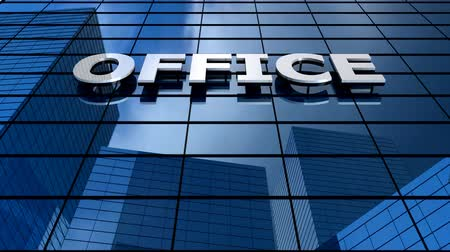 refletir : Office building blue sky timelapse. Stock Footage
