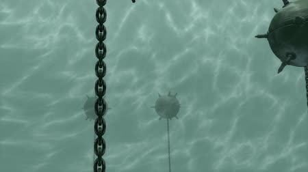 submarino : Artist rendering, Sea mines, weapon, deadly. Stock Footage