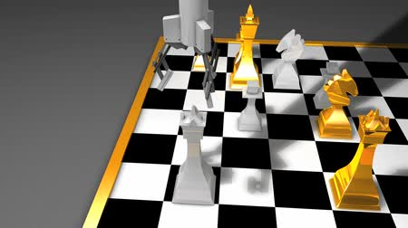 won : Robot chess player animation, AI, artificial intelligent. Stock Footage