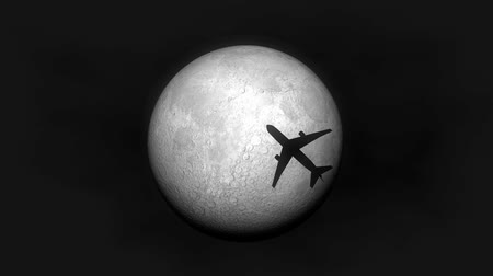 полночь : Airplane fly by moon, silhouette, night.