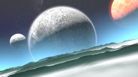 unidentified : Artist rendering alien planet, stars, space, exploration, world. Stock Footage
