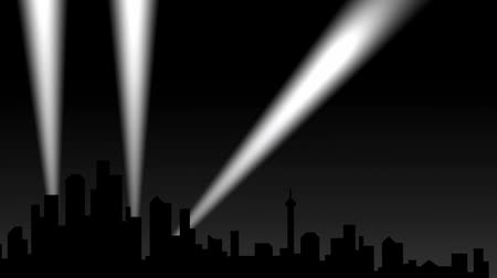 прожектор : City silhouette with spotlights, background. Стоковые видеозаписи