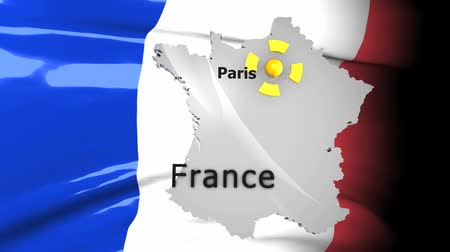 political intervention : Crisis location map series France. Stock Footage